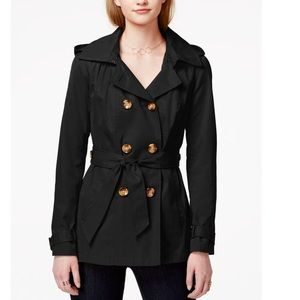 Madden Girl Hood Peacoat Double Breasted Tie Waist